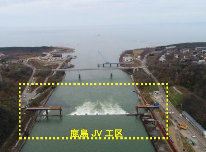 新潟県内で施工中の大河津分水路新第二床固改築Ⅰ期工事の現場