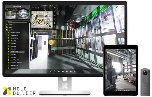 360度カメラで現場を記録する「HoloBuilder」の画面イメージ。撮影時は360°カメラをスマートフォンやタブレットにWiFi接続し、「HoloBuilder」専用アプリ「JobWalk」で操作する(写真:竹中工務店)