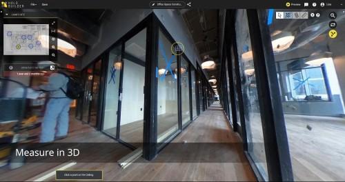360度写真上でのサッシの高さを計測している例