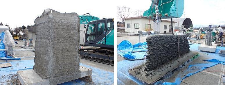 造形された高さ約1.5mの型枠(左)と高さ約1mの壁