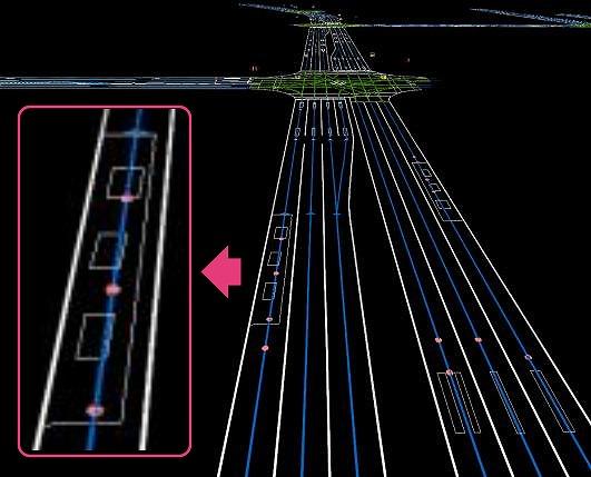 高鮮度地図のイメージ。バス停の白線などが移動しても、すぐに反映されそうだ