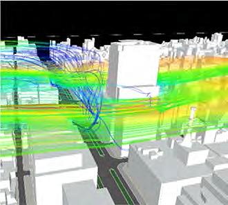 ビル風のシミュレーション例