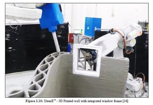 2台のロボットアームにより窓枠を造形中に埋め込む技術