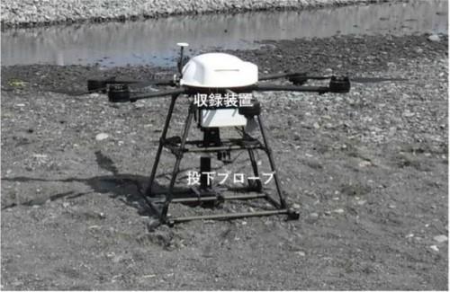 観測機器の投下装置(鶴見精機製)を備えた「海中観測機器投下型ドローン」