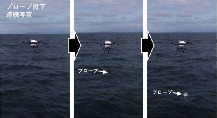 上空から観測機器を投下するドローン