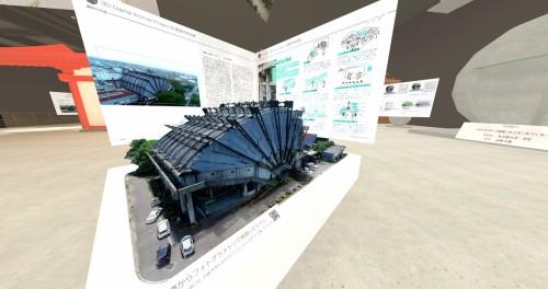 旧都城市民会館の精密なARモデルも展示されていた