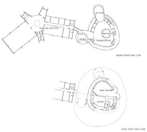 メタボールをデザインの原形に活用した「雪のまちみらい館」の平面図©︎Jun Aoki & Associates