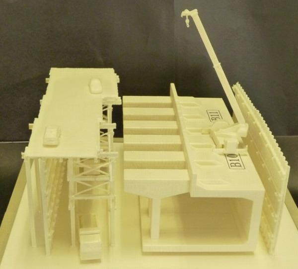 施工中の現場を先取りし、3Dプリンターで作成した模型。発注者にも好評だった
