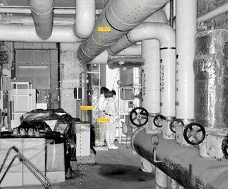 熱源機械室の点群データ。写真のように見えるが各点が3次元座標を持っているため、パソコン上で必要な部分の寸法を計測可能