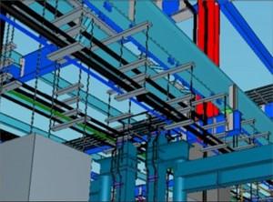 (図9)天井クレーン点検歩廊下の設備類の収まり。アングル材の1本ずつまでモデリングされている