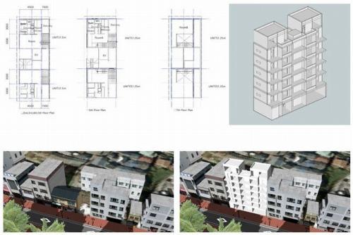 福田氏らの研究で設計したビルの図面やVRモデル