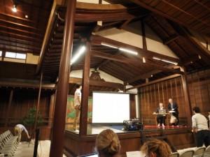 大江能楽堂で行われた英国・バース大学のポール・リチェンス教授による基調講演