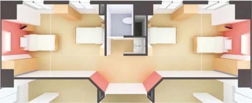 4人部屋の例。すべてのベッド脇に窓が設けられている(資料:日建設計)