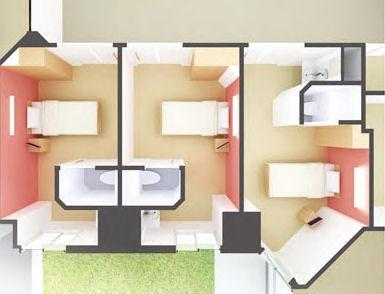 病棟1床室イメージ(資料:日建設計)