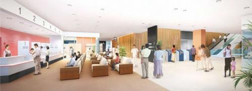 ホールの完成イメージ。さいたま新都心のおもてなし空間としての機能も期待されている(資料:日建設計)