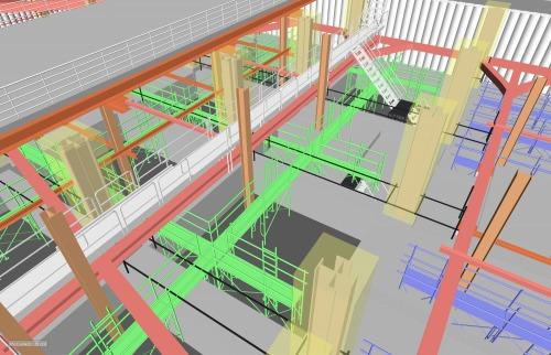 様々なBIMソフトのデータを統合して仮設計画を検討し、その施工性を確認する