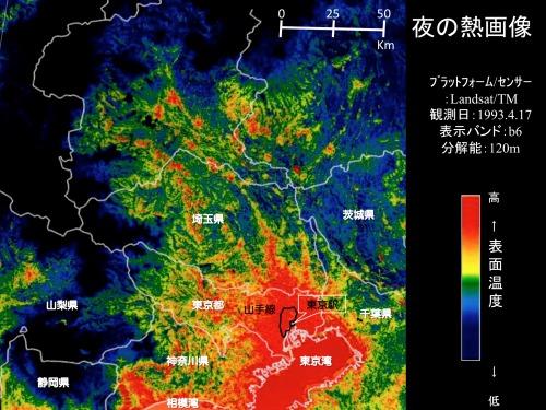 人工衛星がとらえた関東平野の快晴日における夜間の熱画像(センサ:ランドサットTM)