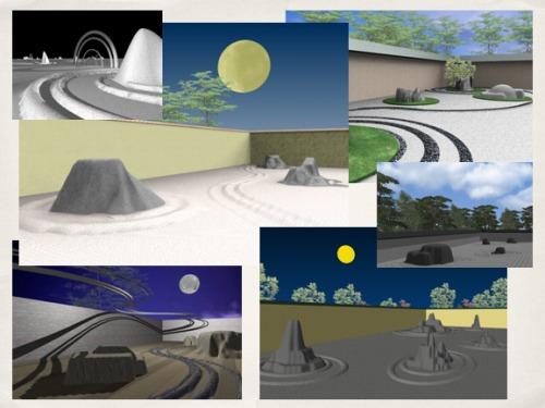 京都・竜安寺の石庭を自由にデジタルスケッチさせた学生の作品(実験授業の一例)