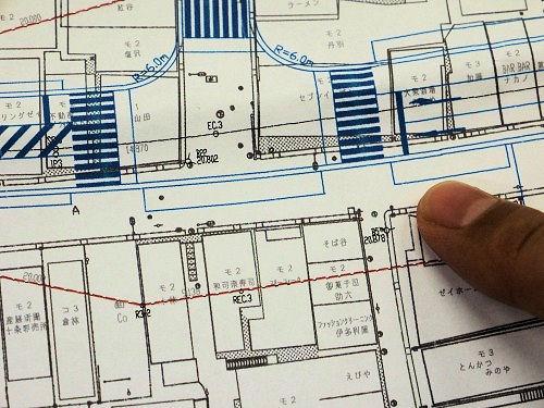 JDrafで描いた道路の図面。細い線や文字も従来のCADと同様に再現できる
