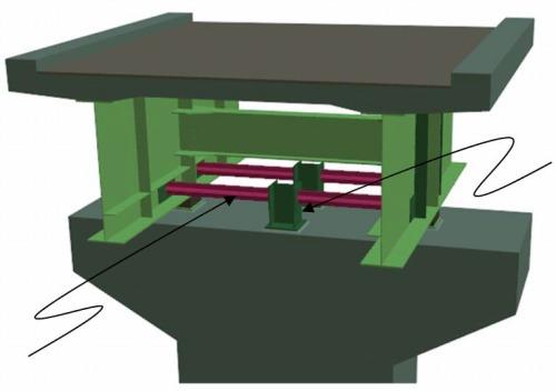 座屈拘束ブレースを設置した固定支承部のモデル