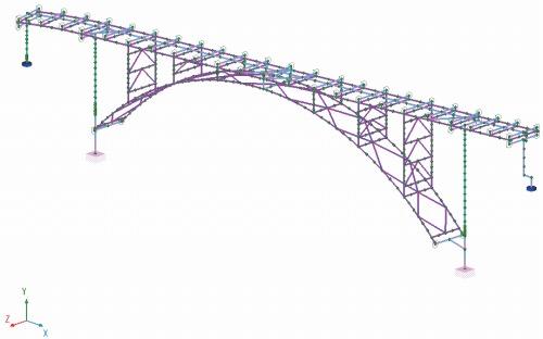 解析に使用した3径間単純鋼上路式ローゼ橋のモデル