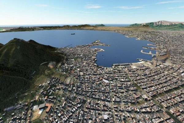 数十km四方の街全体を3Dモデル化することも珍しくなくなった。オートデスクのInfraworksで作成したCIMモデルの例