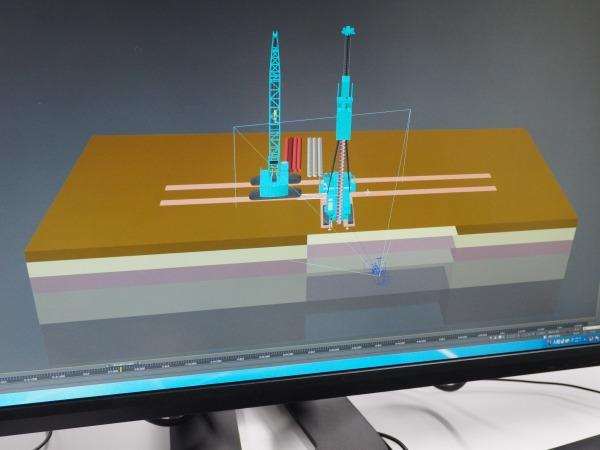 重機の配置や動きなどを考慮したCIMモデル
