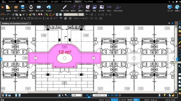 湾曲を含んだ、複雑な部材の面積をPDF図面上で計算し、コンクリート量を求めた例