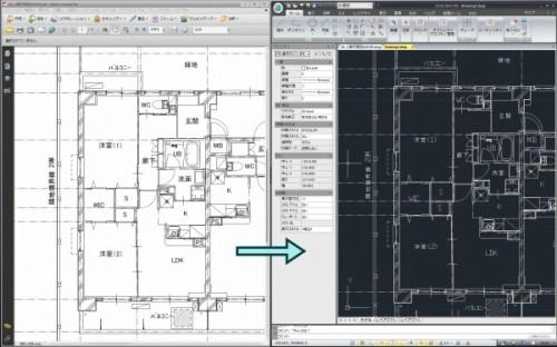 IJCADならPDFファイルの図面(左)をそのまま読み込み、CAD図面(右)に変換できる