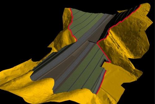 3Dレーザースキャナーで計測した点群データをもとに作成した地形モデルに、切り土や盛り土などを組み合わせたCIMモデル。地山との境界が詳細かつ正確に把握できる