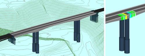 相模川橋のCIMモデル全景(左)と属性情報による上げ越し・下げ越しの見える化(右)