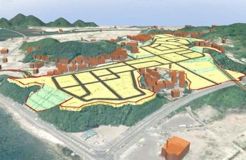岩手県山田町の高台移転計画のCIMモデル