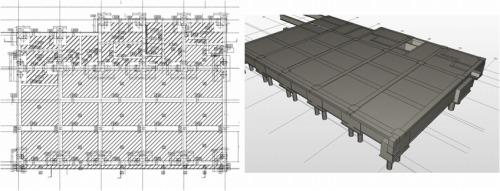 「J-BIM施工図CAD」で作成した施工用の図面(左)とモデル(右)