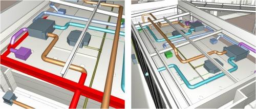 GLOOBEのモデルデータを設備用BIMソフト「CADW'ell Tfas」に読み込み、配管やダクトなどを設計した例