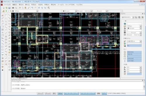 DWG互換CADの一種である「JDraf」の画面