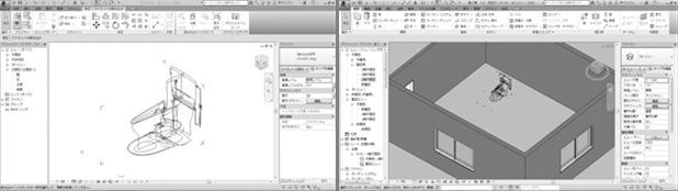 2Dの三面図から作った便器の簡易BIMモデル(左)とBIMモデル内に配置したところ(右)。図面を効率的に描くためにはこうした工夫も重要だ