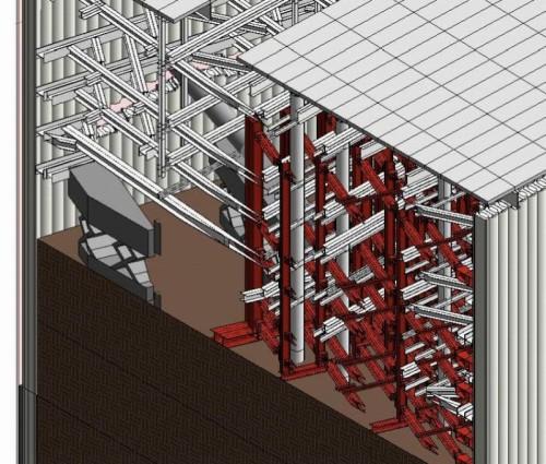 【図1】地下で複雑に絡み合う土木(えんじ色)と建築の仮設の3Dモデル
