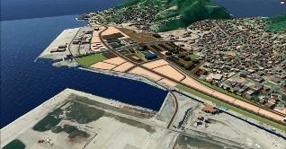 【図4】Infraworksで大船渡市の復興計画を3D化したもの