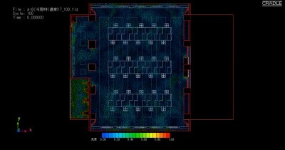 BIMによる3Dモデルを利用した放射空調の気流解析(株式会社ソフトウェアクレイドル社のソフト「STREAM」による)