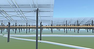 敷地の地下にある埋設管も3Dモデル化し、架台の基礎と干渉しないように位置を調整した