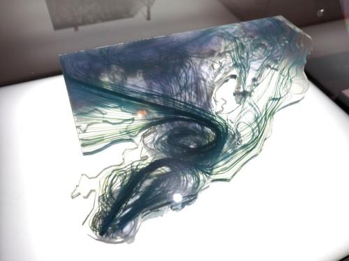 上越市新水族館の水槽内の水流を「Autodesk CFD」で解析し、3Dプリンターで模型化したもの