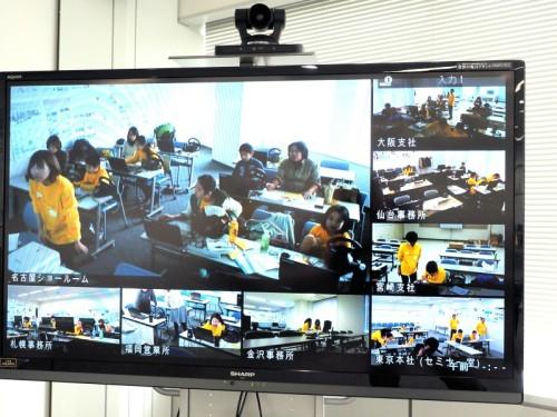 名古屋ショールームからの質問がテレビ会議システムで寄せられた瞬間