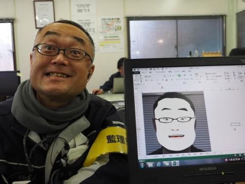 完成した似顔絵とモデルの鈴木氏