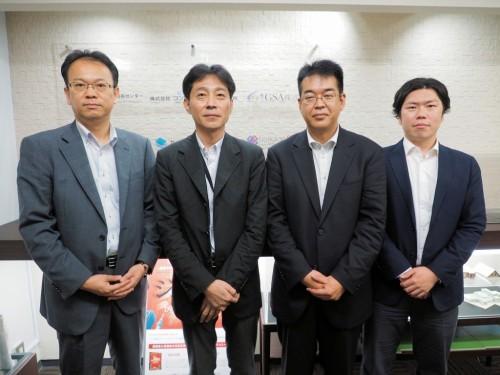 BIM/CIM事業を担うGSAの幹部。左から遠藤啓一取締役、内公二郎執行役員、石井伸一受託開発部長、立岡慎吾制作部マネージャー