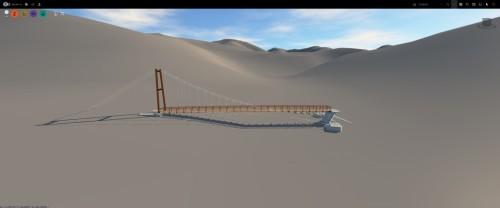 数十mメッシュの地形データ上に橋の3Dモデルを配置した例。地形が粗すぎて景観の検討には使えない