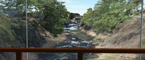 橋の上から滝が見えるかどうかをチェック。CIMならではの検討だ