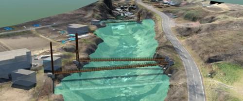 CIMモデル上で再現した洪水時の水位。一般の人にも橋がどうなるのかが一目瞭然だ