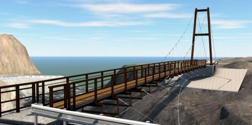 検討の結果、最終的に採用された片塔式吊り橋案。複雑な曲線からなるケーブルなども3Dで表現した