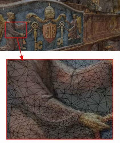 教会内部の彫刻を3Dモデル化したもの。凹凸の細かさによってメッシュの大きさが最適に調整されている