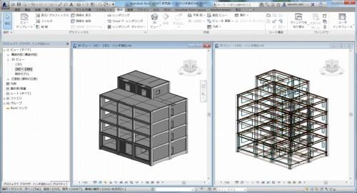 すると、何もなかったRevitの画面に5階建てビルの構造モデルが読み込まれた